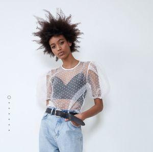 Zara dotted mesh top